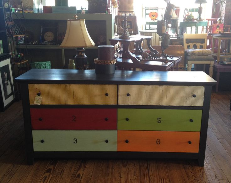 Multi Colored Dresser Oldstor Piedmont Painting Company Furniture