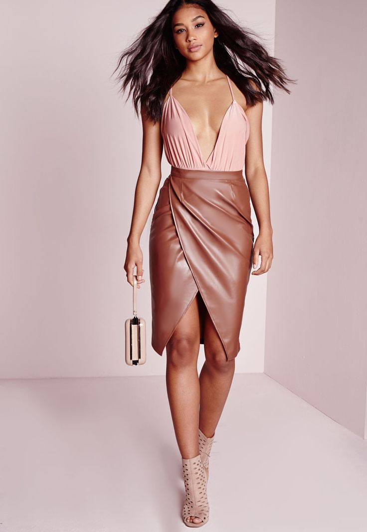 Missguided - Faux Leather Wrap Midi Skirt Tan