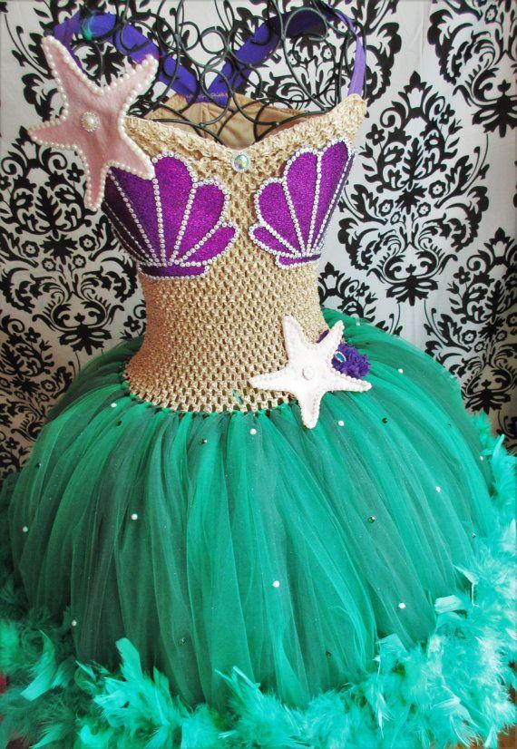 Adult Little Mermaid Dress/Feather Dress/Mermaid tutu