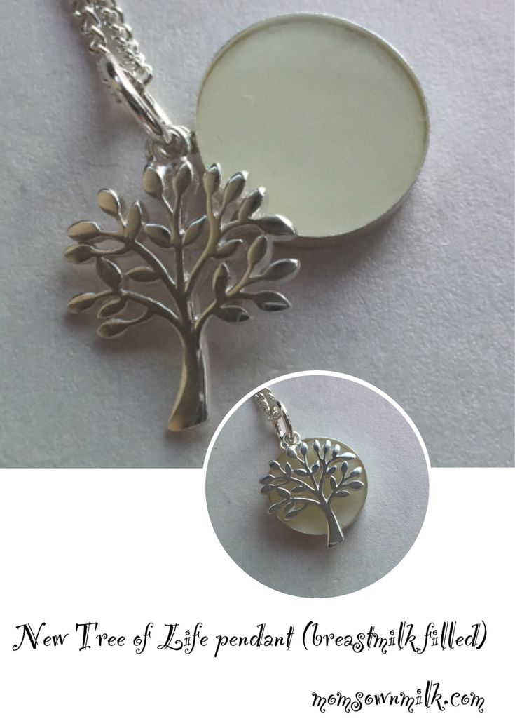 Tree of life bm filled necklace pendant made from for Breastmilk jewelry tree of life