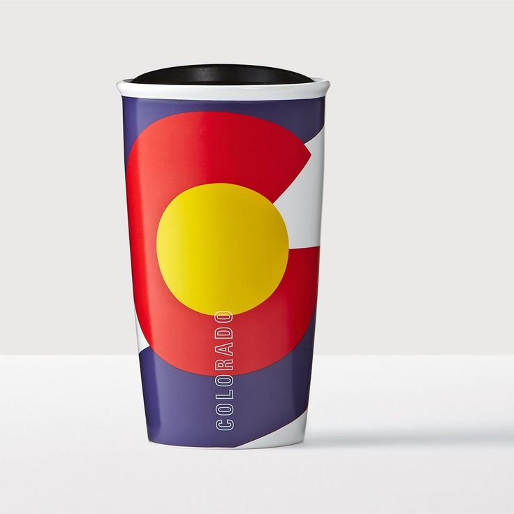 Colorado Double Wall Traveler. A double-walled ceramic mug featuring art inspired by the state flag of Colorado.