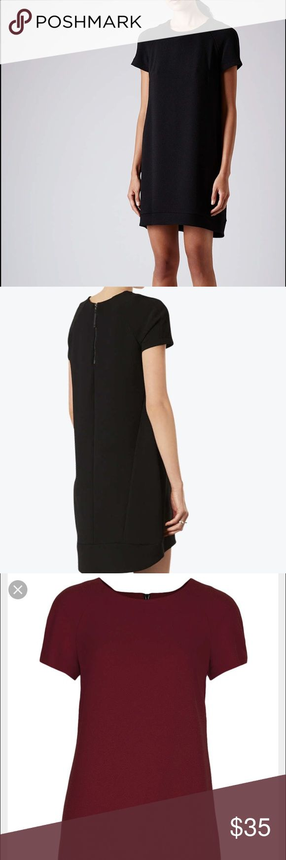 TOPSHOP crepe dress TOPSHOP for Nordstrom! One crewneck in mulberry (maroon) and one in black. Crepe shift dress. Great for every occasion! Dress it up or dress it down. Detail- zipper in back for added style Topshop Dresses Mini