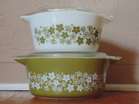 Green Flower Vintage Pyrex Corningware Bowls Vintage