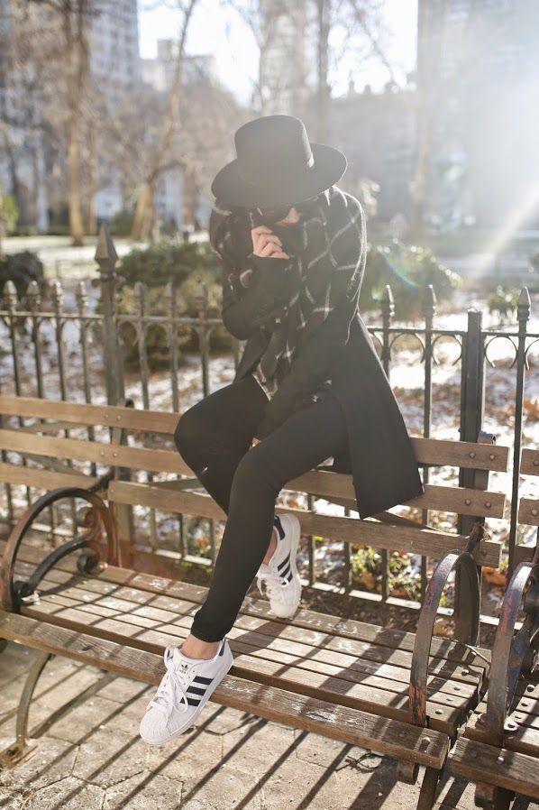 Atlantic-Pacific: black leggings, white plaid shirt, black coat and plaid scarf