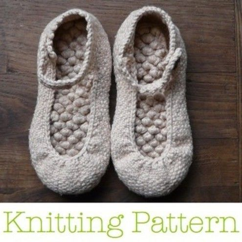 Knitting Pattern For Slippers That Look Like Sneakers : Bobble Ballerina PDF Knitting Pattern Ballet, Triplets and Stitches