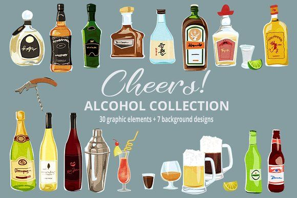 Cheers! Alcohol & Cocktails Clipart by Dapper Dudell on @creativemarket