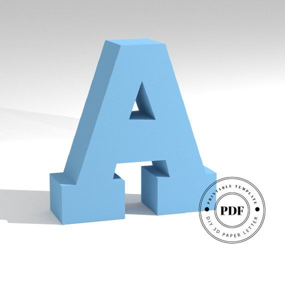 Printable DIY template Cardboard alphabet. Papercraft 3D paper lettering Letter S low poly paper model template Origami PDF