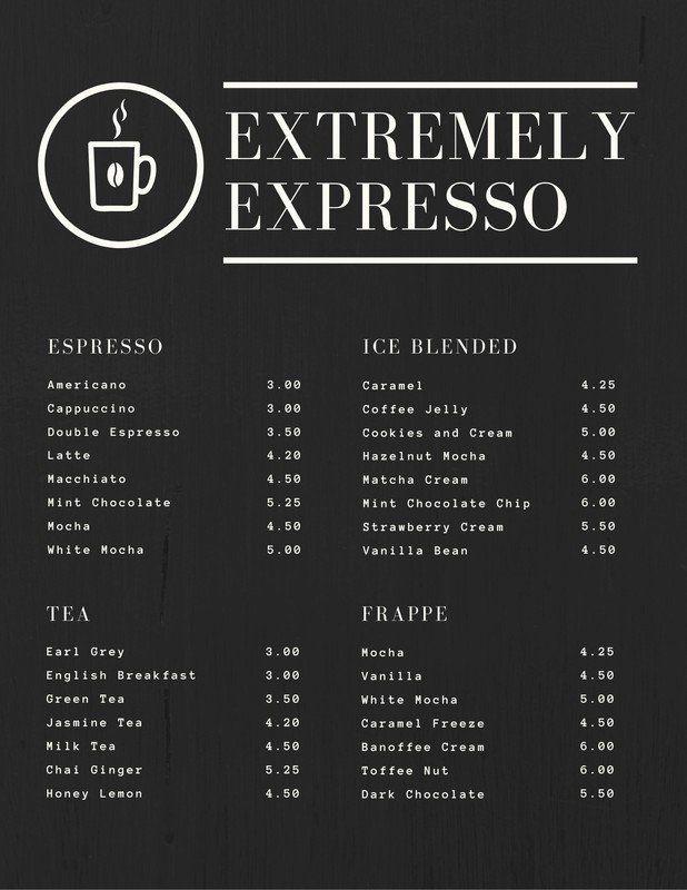 Black Textured Simple Coffee Drink Menu Templates By Canva Coffee Shop Menu Coffee Shop Menu Board Coffee Menu Design