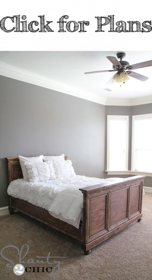 Free Printable Plans and an easy to follow tutorial to build a solid wood bed.