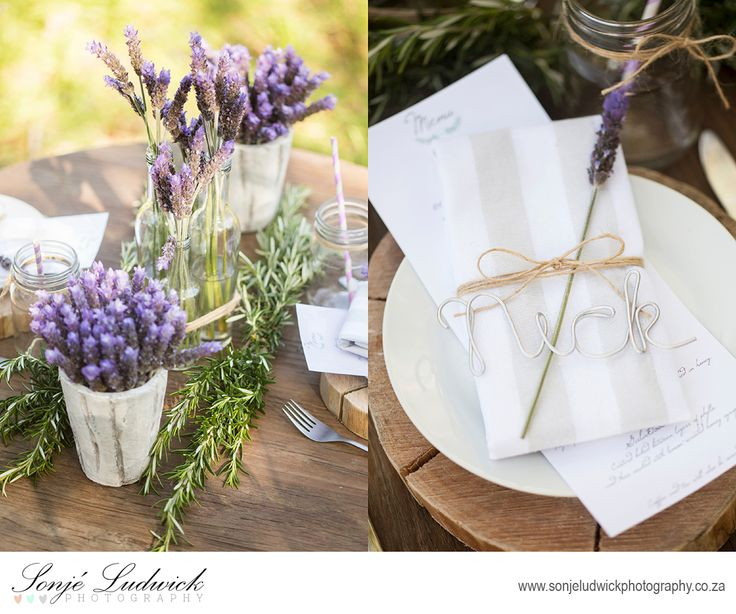 Greek wedding inspiration.  Lavender used for table and wedding decor.  Rustic silver wire place names.