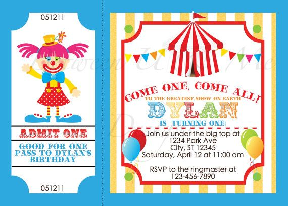Best Circus Birthday Images On   Circus Party