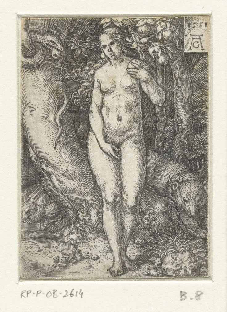 Heinrich Aldegrever   Eva, Heinrich Aldegrever, 1551   Eva, van voren gezien, naakt en staand met de verboden vrucht in haar hand. Rechts van haar de slag met een vrucht in de boom, achter de boom een haas en een beer. Vormt samen met een prent met Adam een voorstelling van de zondeval.
