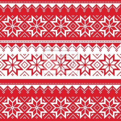 """Фотообои """"рождественский, рождественский, карточка - nordic бесшовные рождества красный узор"""" ✓ Простой монтаж ✓ Возврат 365 дней ✓ Посмотрите другие дизайны с этой коллекции!"""