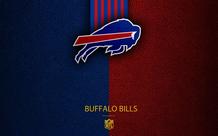Download wallpapers Buffalo Bills, 4k, American football, logo, emblem, Buffalo, New York, USA, NFL, blue red leather texture, National Football League, Eastern Division