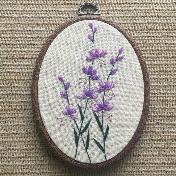 Purple Flowers Embroidery Hoop Art Hand Embroidered Botanical Etsy Embroidery Flowers Embroidery Hoop Art Hoop Art