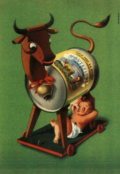 La pubblicità del latte in polvere Montefiore in un'immagine degli anni '30