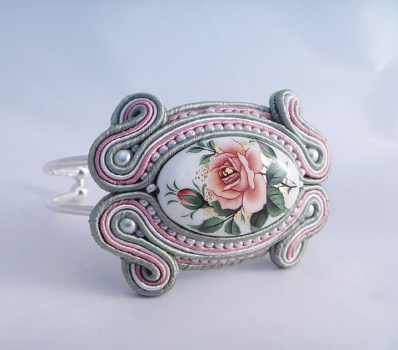 Soutache bangle, cuff, bracelet. Rose beaded jewellery by MollyG Designs