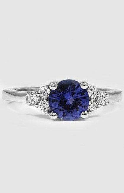 Sapphire Trio Diamond Ring Platinum