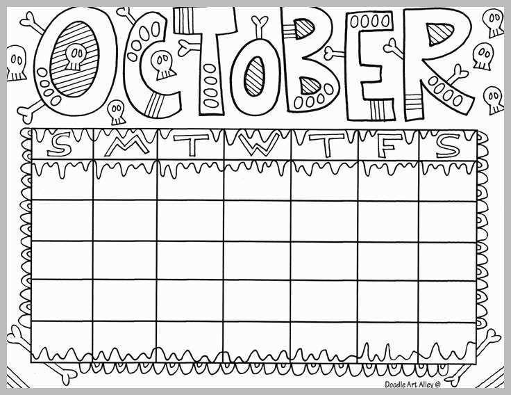 October Coloring Page Calendar Kids Calendar Coloring Pages For Kids Coloring Calendar