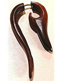 Falso Dilatador Piercing madera étnica pendiente de Gauge Wooden Earring Wood
