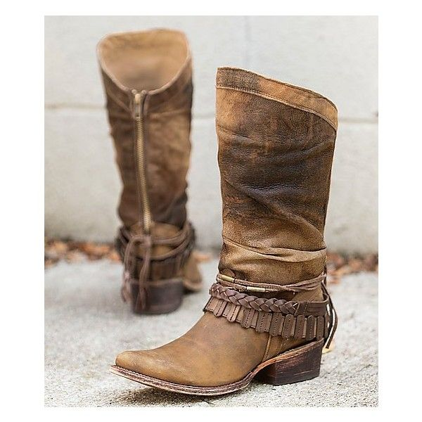 Indie Spirit By Corral Hartley Cowboy Boot (2 490 SEK) ❤ liked on Polyvore featuring shoes, boots, brown, slouch boots, tall boots, brown cowgirl boots, western boots and cowboy boots