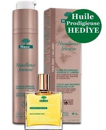 Nuxe Nuxellence Jeunesse Anti aging Cilt Bakım Kremi 50 ml + Nuxe Huile Prodigieuse 30 ml Kuru yağ HEDİYE