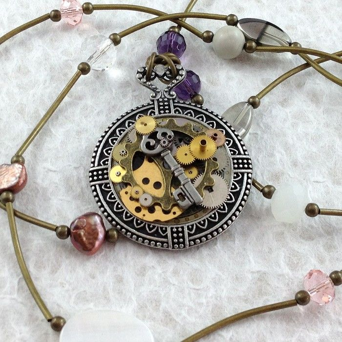 Steampunk Inspired Clock Pendant Long Necklace