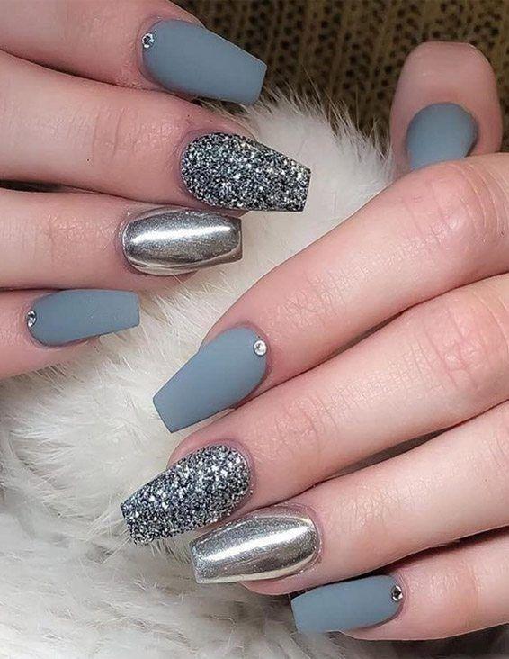 Pretty Elegant Nail Designs For 2019 Ladies Unas Color Plata