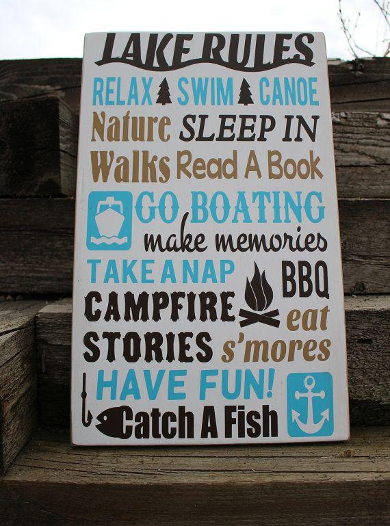 Lake rules sign-lake house decor-beach house-lake house rules-lake theme gift-lake rules wood sign-lake house wall sign-home on the lake