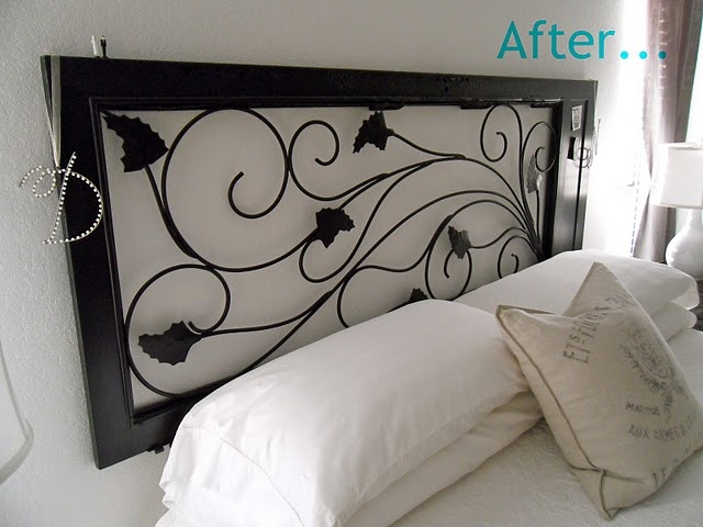 Wrought iron screen door - doubling as a head board. Awesome. WIsh we needed a head board....