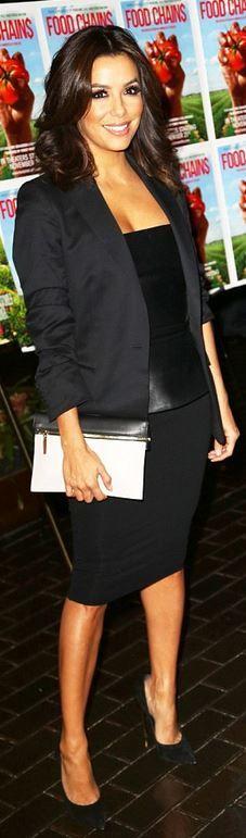 Eva Longoria's white clutch handbag and black suede pumps ID