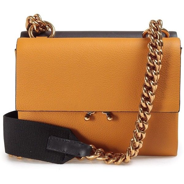 Marni Wallet Small Color-Block Leather Shoulder Bag (£885) ❤ liked on Polyvore featuring bags, handbags, shoulder bags, marrone, color block purse, orange handbags, color block handbags, chain shoulder bag and real leather handbags