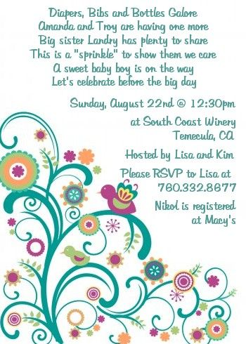 Sew In Love Baby Sprinkle - food idea salad Sprinkle! Baby - invitation wording for candle party