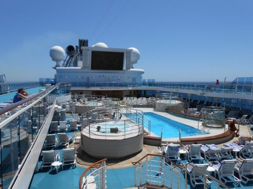 """The pool, hot tub, and """"under the stars """" movie screen that provided me with much entertainment and relaxation during the cruise on the Coral Princess!"""