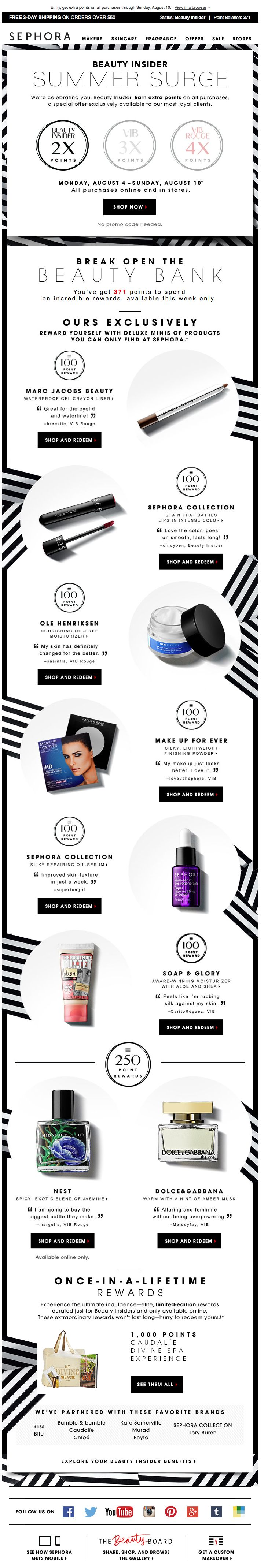 Sephora Insiders, loyalty email. Listed out my insider points
