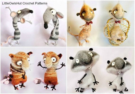 4 crochet patrones Suricata gato rata mapache por LittleOwlsHut