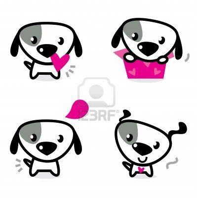 Cute dog collection - little dogs with pink hearts. Vector Illustration.