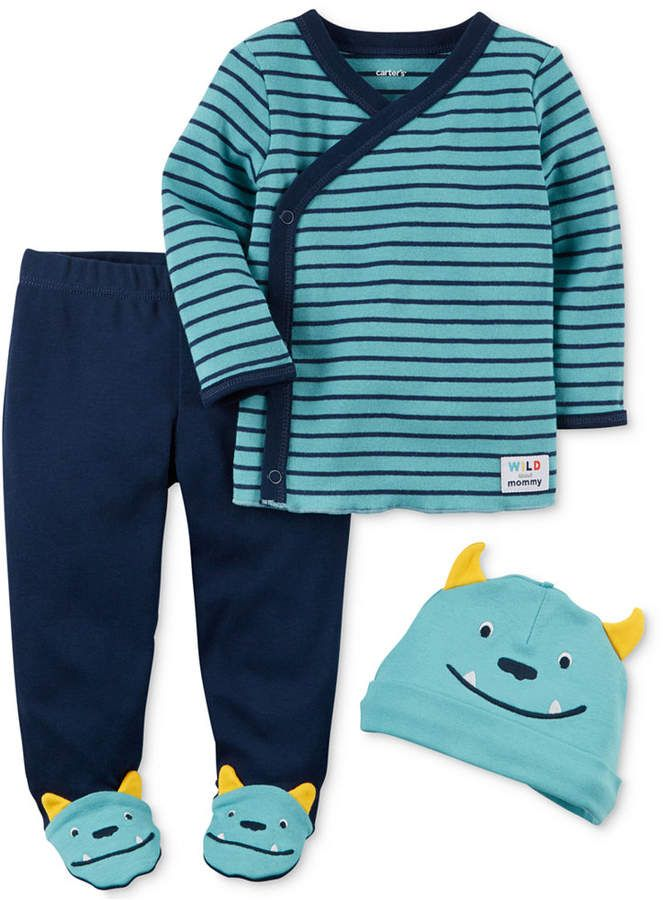 4672ff7c8 Carter's 3-Pc. Cotton Monster Hat, Top & Footed Pants Set, Baby Boys ...