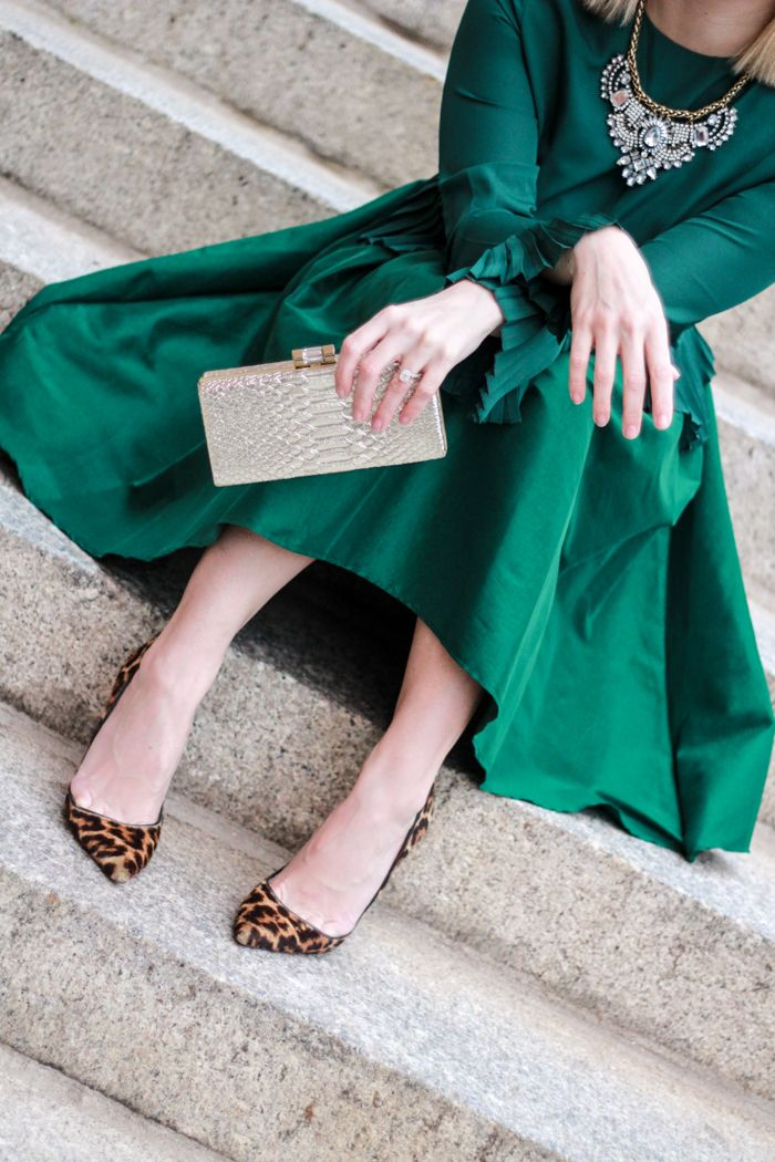 Emerald, leopard & a statement necklace for the holidays