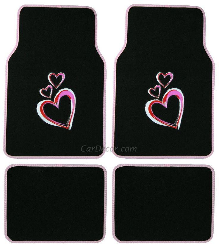 Dancing Hearts Pink 4 Pc Floor Mat Set JeepGirly CarCar MatsJeep
