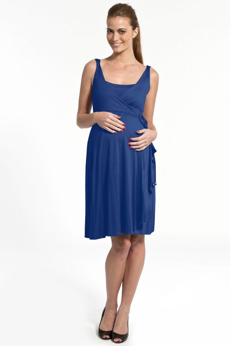 abito pre maman e allattamento blu cobalto by Pomkin - cocomum.com