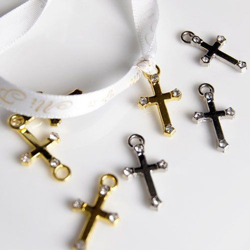 Celebrate your faith with mini cross charms. Simply slip each on a ribbon to adorn your baptism, christening, baby shower or wedding favors.
