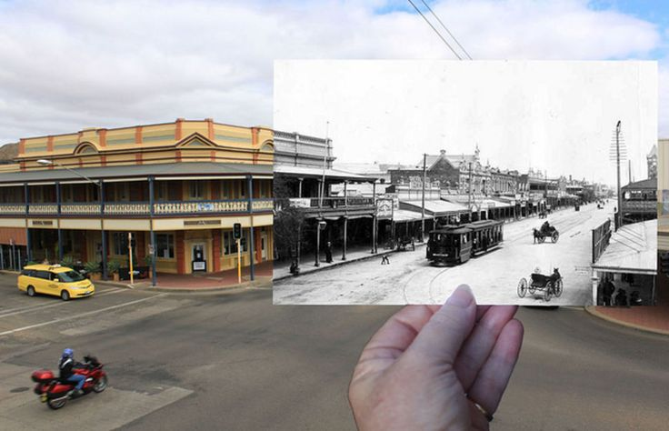 The Astra Hotel, Argent Street, Broken Hill, NSW. Trams ran in Broken Hill for many years