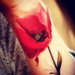 Red Wrist Poppy tattoo