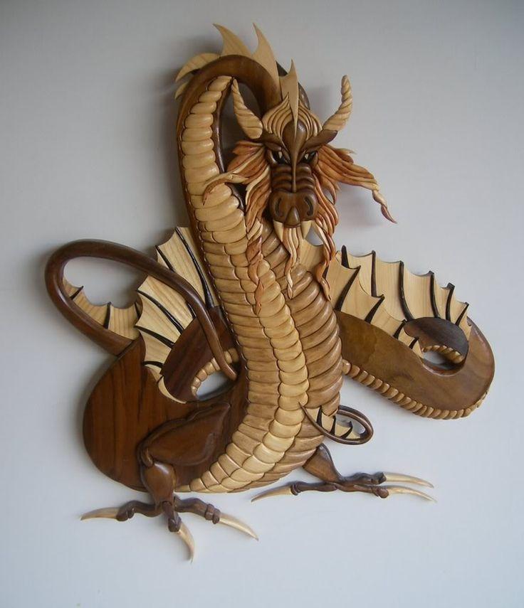 Intarsia woodwork. Author of works Kenn Bennett