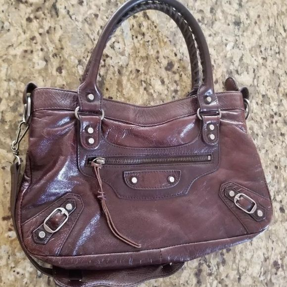 bc7b194114abc With long strap Authentic Balenciaga bag in a brown burgundy color the  handles are a little dark from use! Wonderful bag! Balenciaga Bags Shoulder  Bags
