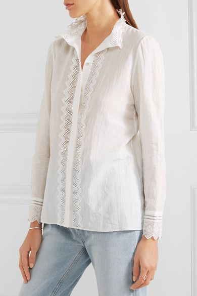 Vanessa Bruno - Gina Cotton, Linen And Ramie-blend Voile And Lace Shirt - White - FR