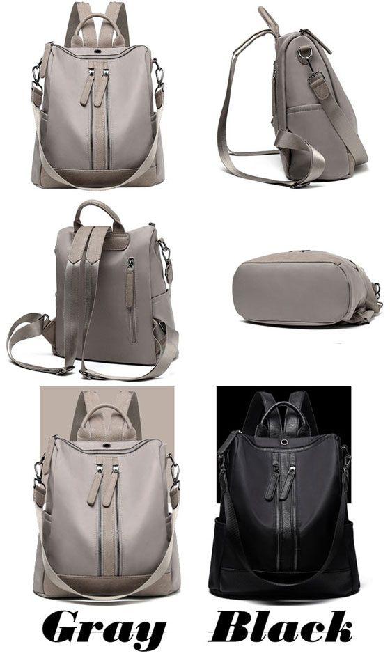 f3945094fa Elegant Waterproof Double Zipper PU Multi-function Handbag Large School  Backpack  backpack  Bag  school  college