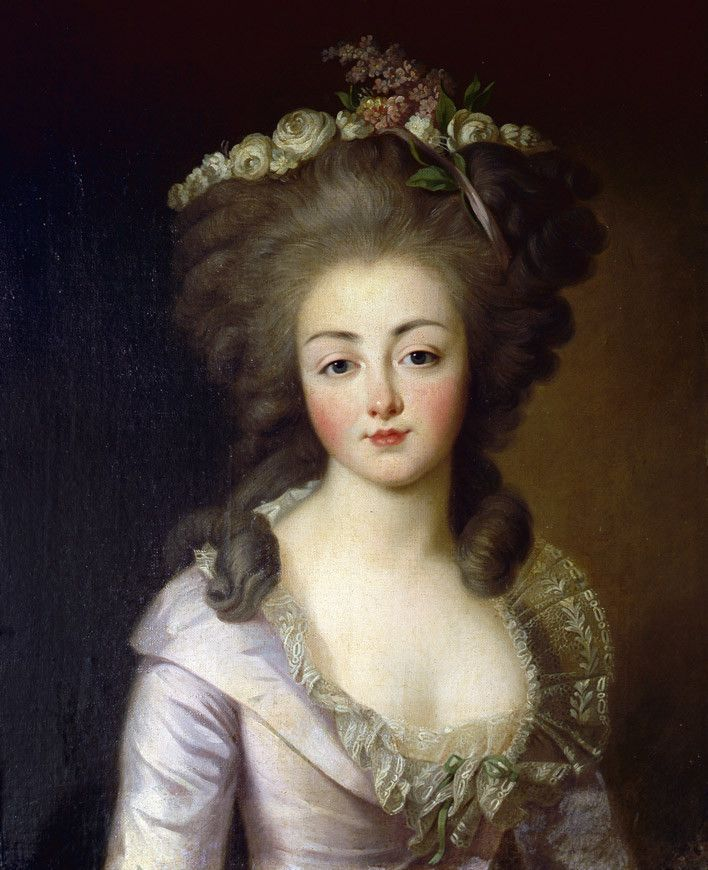 A portrait of Diane de Polignac, who was a lady in waiting to both the Comtesse d'Artois and Madame Elisabeth. She was the sister of Jules de Polignac, and thus a sister in law of Yolande de Polastron, one of Marie Antoinette's closest friends.