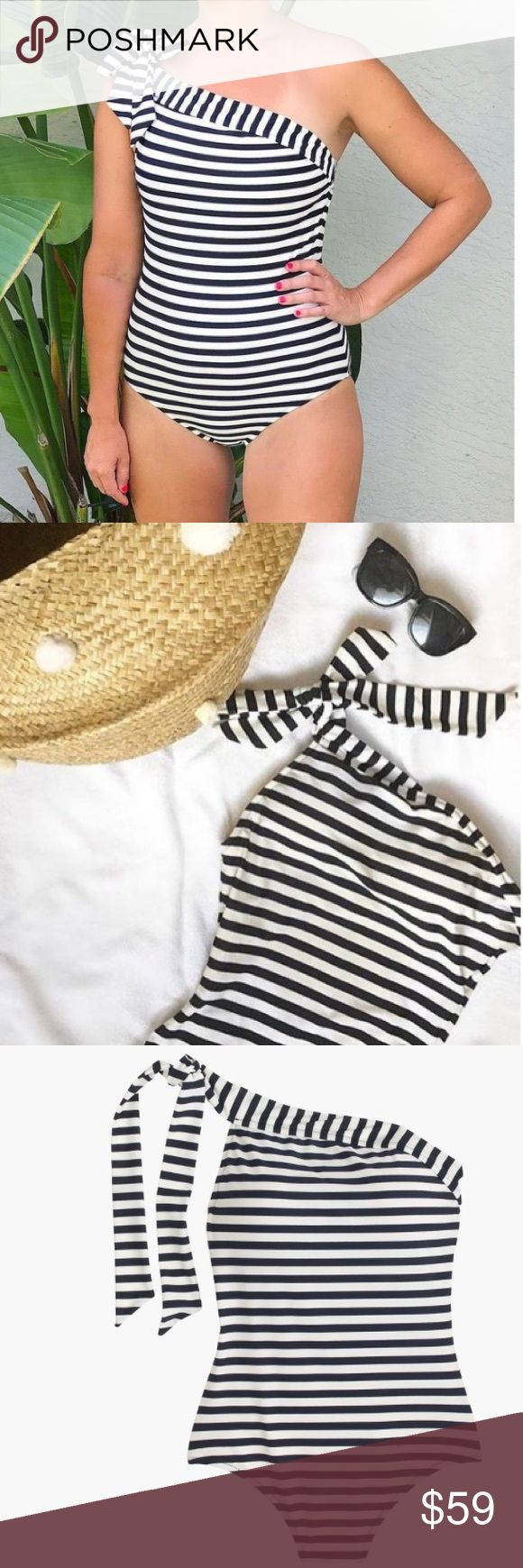 J. Crew One-shoulder one-piece swimsuit One-shoulder one-piece swimsuit in classic stripe. A timeless one-piece that ties at the shoulder will be your new go-to swimsuit.  Fully lined.  Shelf bra.  Size 14 Long Torso.     Excellent condition. J. Crew Swim One Pieces